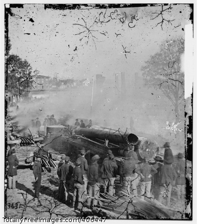 General W.T. Sherman's men destroy the railroad in Atlanta, Georgia, in 1864. #Civil War #Georgia #Military action #railroads #Georgia
